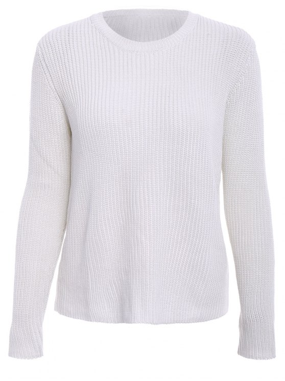 outfits Solid Color Long Sleeve Knitwear - OFF-WHITE M