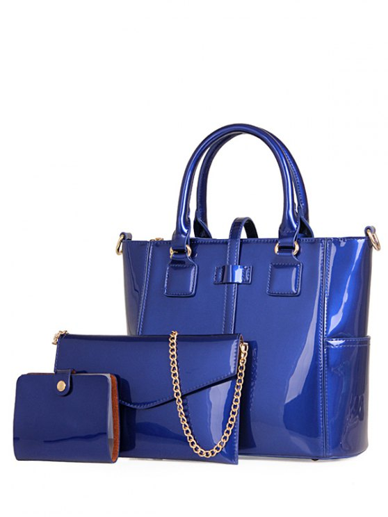 fashion Patent Leather Strap Solid Color Tote Bag - BLUE