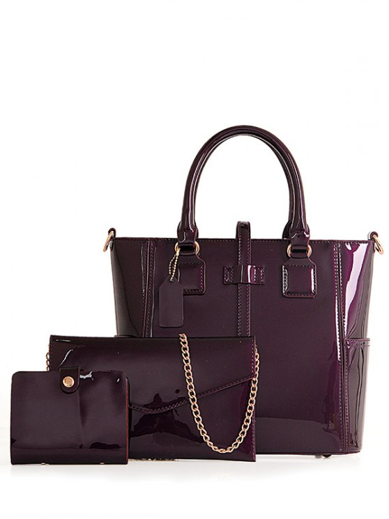 fancy Patent Leather Strap Solid Color Tote Bag - PURPLE
