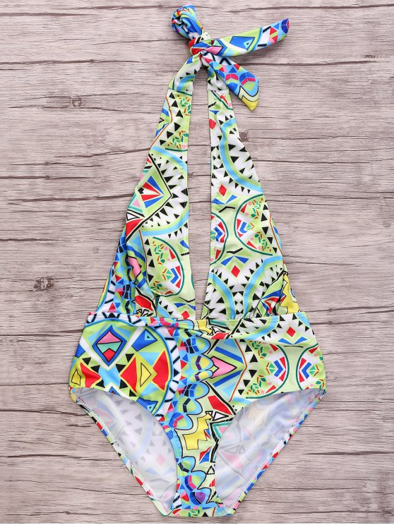 women's Geometric Pattern Plunging Neck One Piece Swimwear - COLORMIX XL