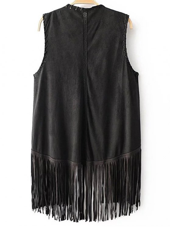 Tassels Faux Suede Collarless Waistcoat - BLACK M Mobile