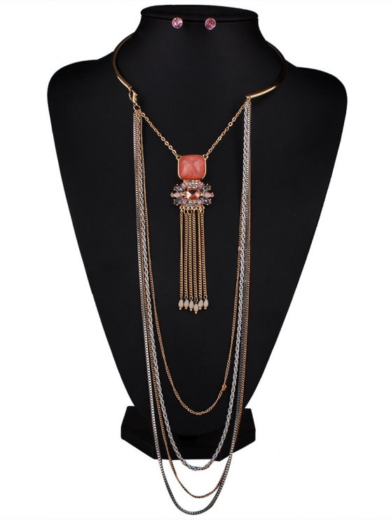 Rhinestone Multilayer Chain Tassel Necklace and Earrings - PINK  Mobile
