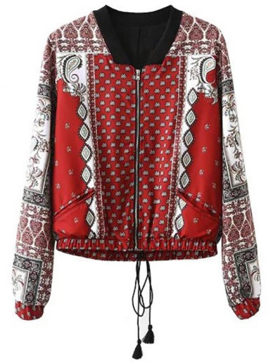 latest Vintage Print Stand Neck Long Sleeve Jacket - RED S
