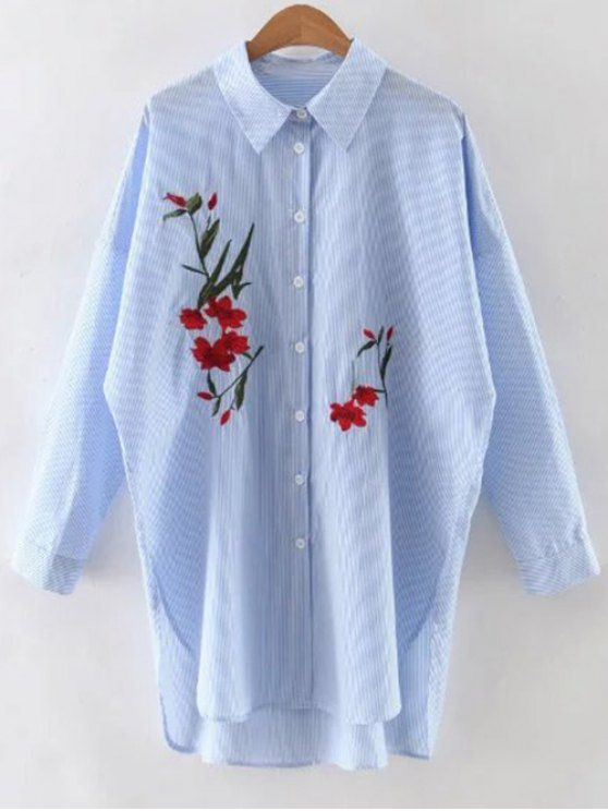 women Floral Embroidery Long Sleeve Stripe Shirt - BLUE L