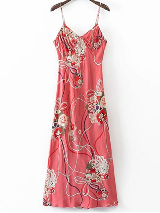 Floral Cami Robe dos ouvert - Multicolore M