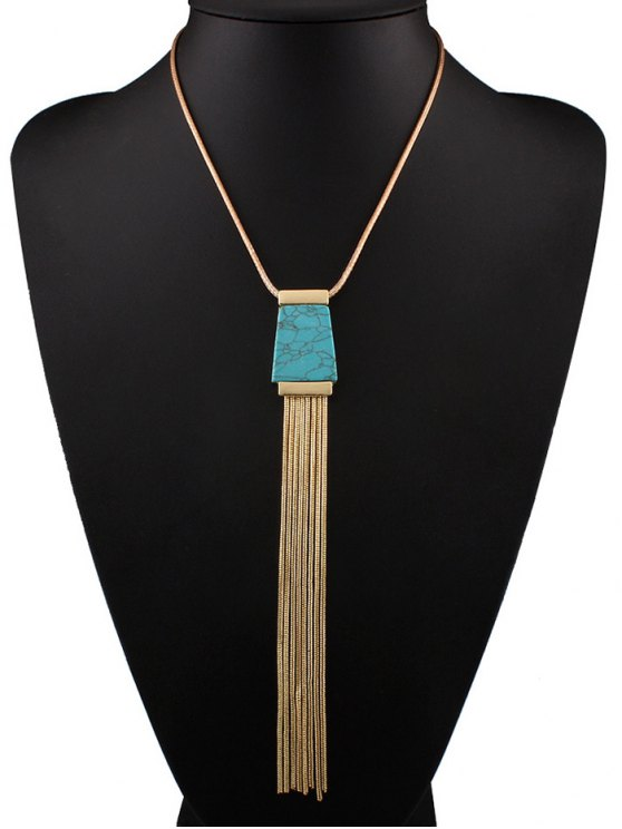 women Faux Turquoise Tassel Necklace - BLUE