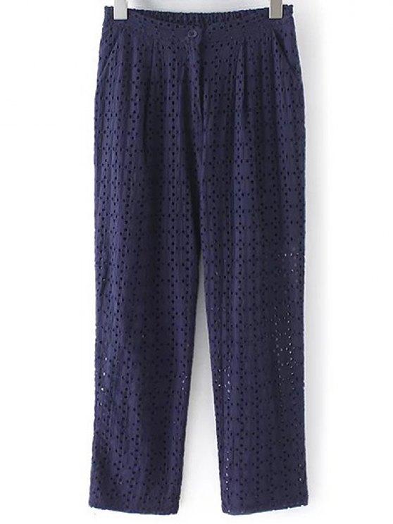 Évider Pantalon de couleur unie - Bleu Violet M