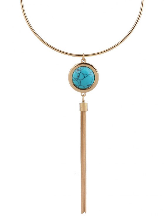 Faux Turquoise Round Tassel Necklace - BLUE  Mobile
