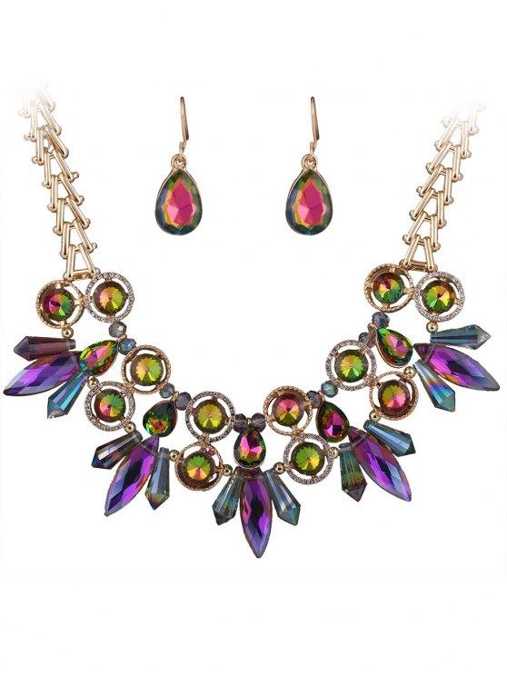 Faux Collier et boucles d'oreilles en strass cristal - Multicolore