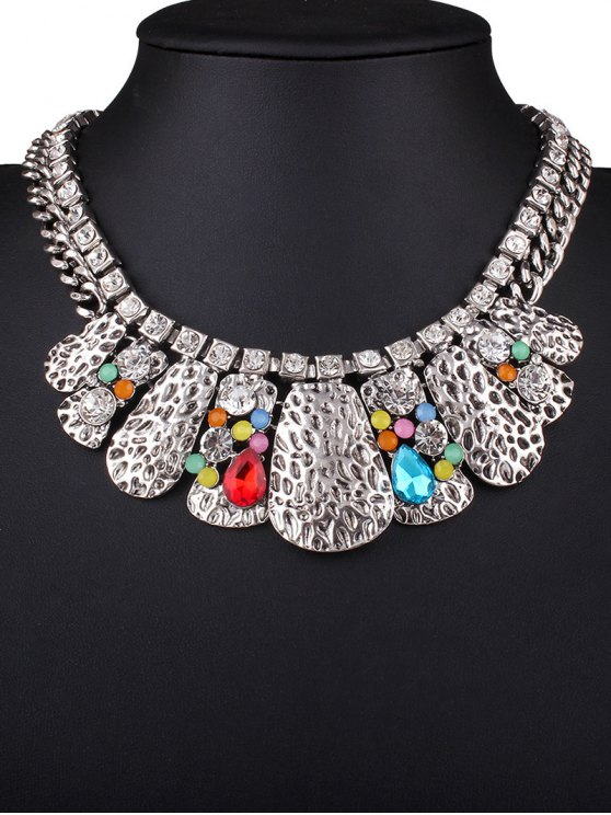 Rhinestone Multilayer Embossed Necklace - COLORMIX  Mobile
