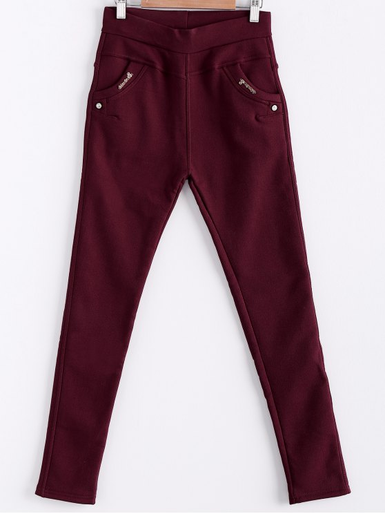 sale Solid Color Trousers For Women - WINE RED ONE SIZE(FIT SIZE XS TO M)