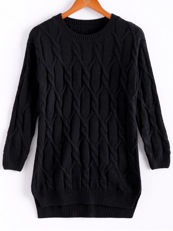 unique Argyle Solid Color Long Sleeve Sweater - BLACK ONE SIZE(FIT SIZE XS TO M)