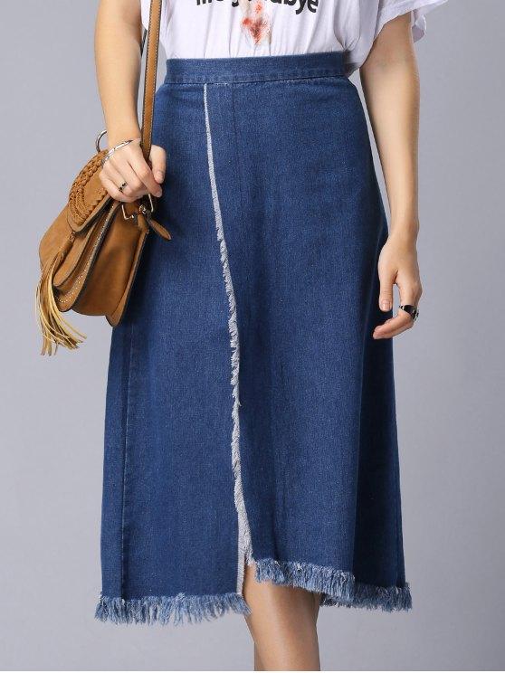 Solid Color High Slit High Waist A-Line Denim Skirt - BLUE M Mobile