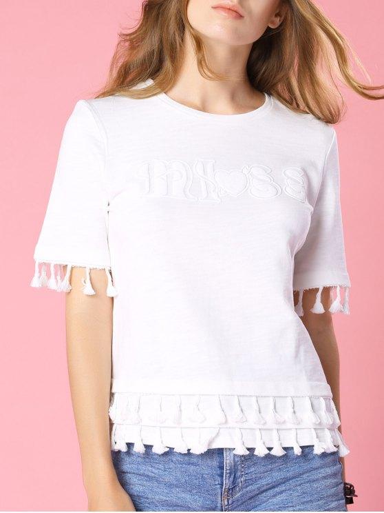 Manga blanca de la franja de cuello redondo manga corta de la camiseta - Blanco M