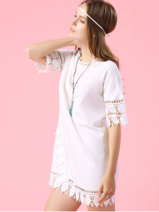 Short Sleeve Lace Trim Dress - WHITE S Mobile