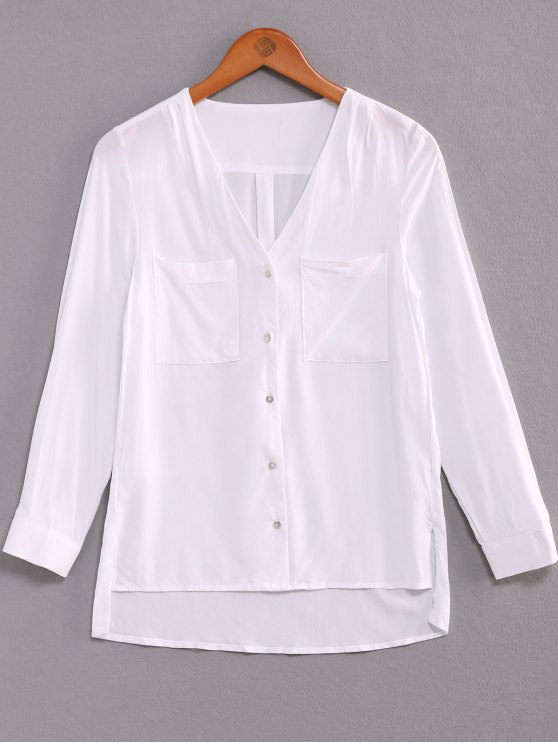 women Single-Breasted V-Neck High Low Shirt - WHITE L