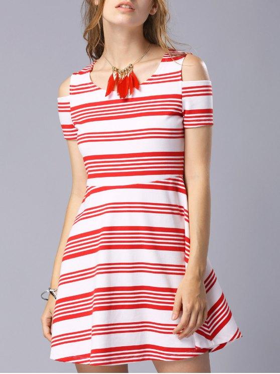 trendy Striped Scoop Neck Short Sleeve Cold Shoulder Dress - RED M