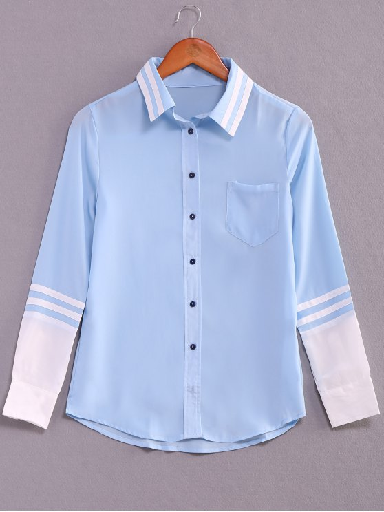 outfits Striped Color Block Long Sleeve Shirt - BLUE S
