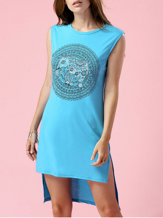 affordable High-Low Printed Round Neck Sleeveless Dress - TURQUOISE M