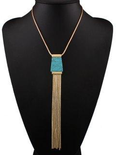 Faux Turquoise Tassel Necklace - Blue