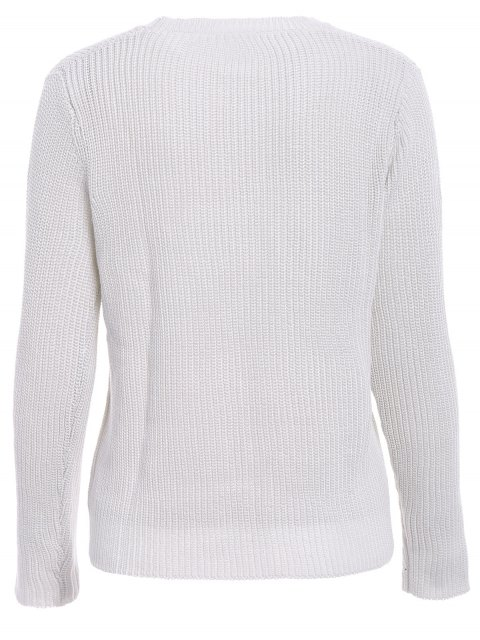 outfits Solid Color Long Sleeve Knitwear - OFF-WHITE M Mobile