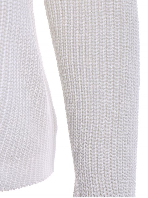 shop Solid Color Long Sleeve Knitwear - OFF-WHITE L Mobile