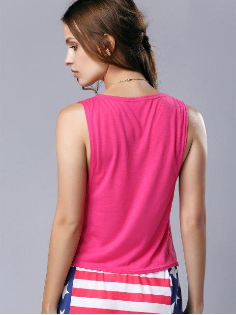shop U Neck Pure Color Cut Out Tank Top - ROSE M Mobile