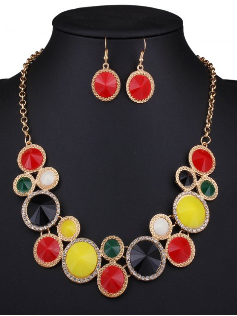 shop Faux Gem Rhinestone Round Necklace and Earrings - COLORMIX  Mobile