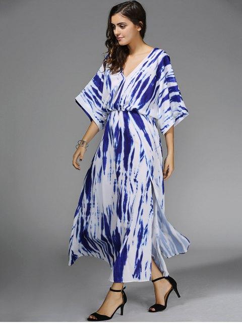 women Blue Print Plunging Neck 3/4 Sleeve Maxi Dress - BLUE S Mobile