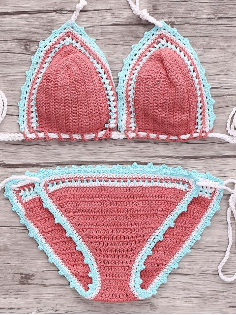 new Crocheted String Bikini Set - WATERMELON RED M Mobile