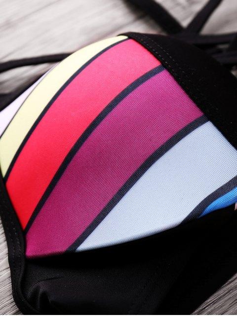 fashion Colored Splice Spaghetti Straps Bikini Set - COLORMIX S Mobile