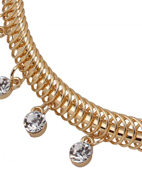 trendy Rhinestone Circle Necklace and Earrings - GOLDEN  Mobile