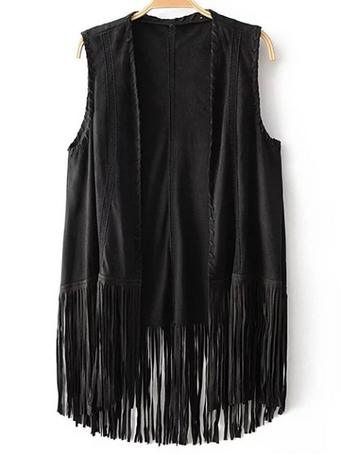 fashion Tassels Faux Suede Collarless Waistcoat - BLACK S Mobile