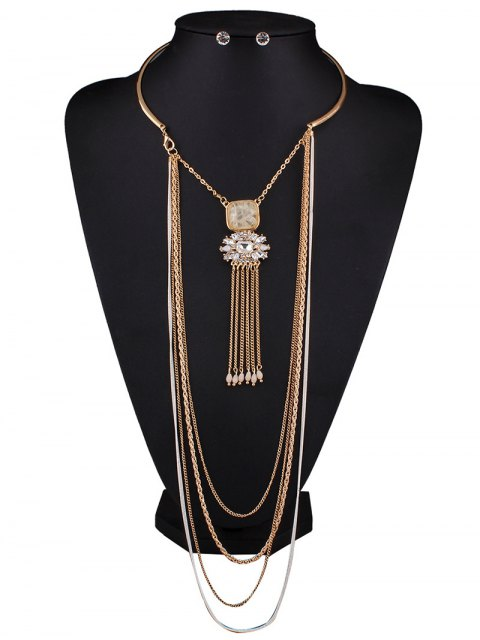 unique Rhinestone Multilayer Chain Tassel Necklace and Earrings - OFF-WHITE  Mobile