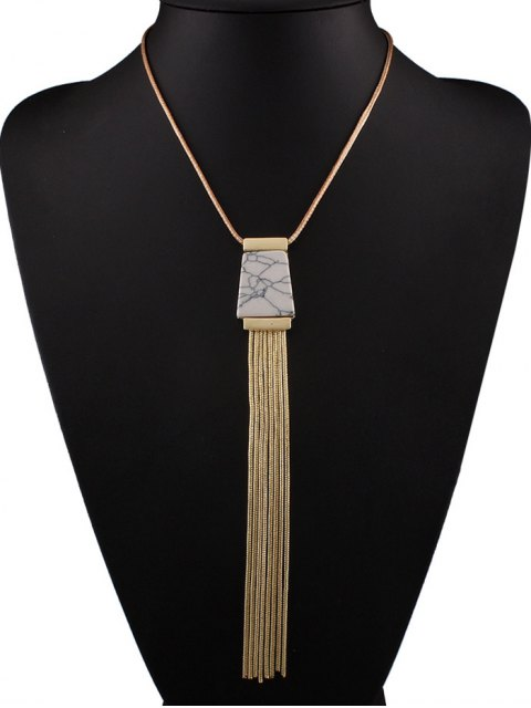 women's Faux Turquoise Tassel Necklace - WHITE  Mobile