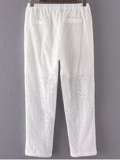 hot Hollow Out Solid Color Pants - WHITE S Mobile