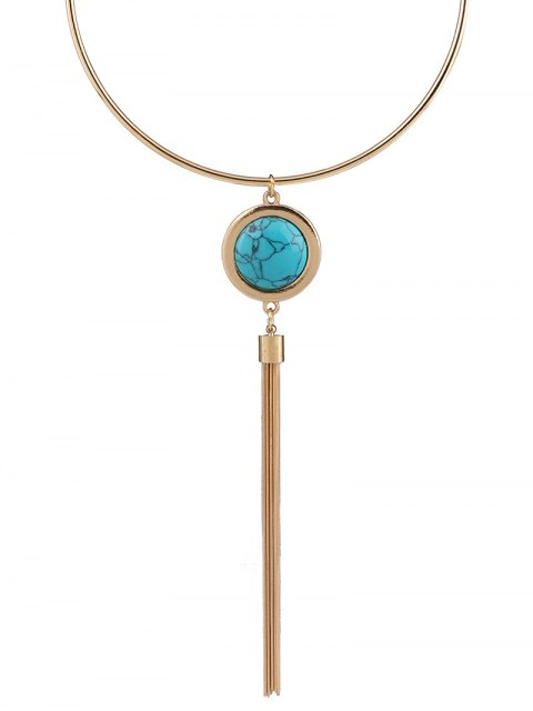 lady Faux Turquoise Round Tassel Necklace - BLUE  Mobile