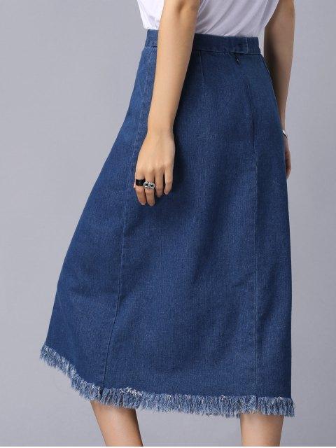 trendy Solid Color High Slit High Waist A-Line Denim Skirt - BLUE M Mobile