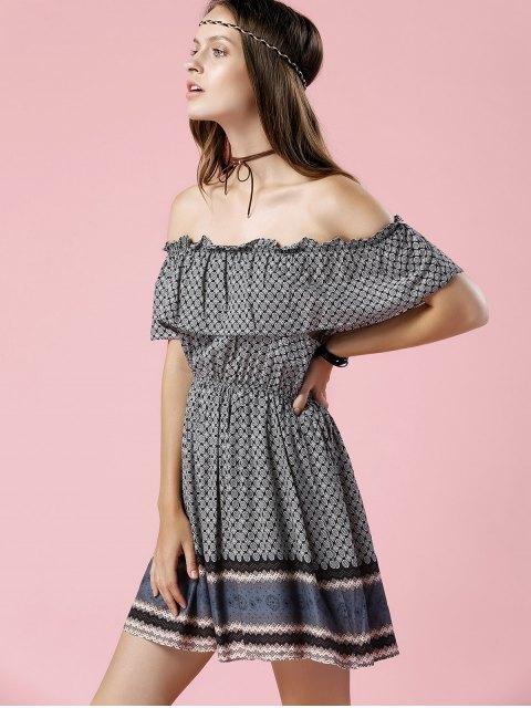 fashion Printed Off The Shoulder Waisted Mini Dress - BLACK GREY XL Mobile