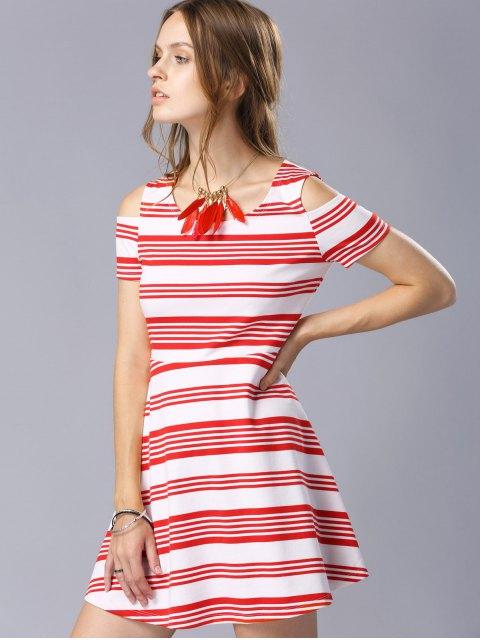 trendy Striped Scoop Neck Short Sleeve Cold Shoulder Dress - RED M Mobile
