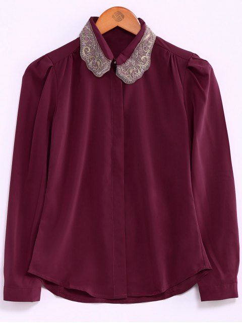 hot Embroidery Collar Loose Shirt - RED L Mobile