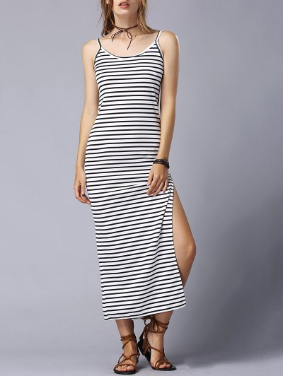 Striped High Slit Spaghetti Straps Sleeveless Dress - White And Black