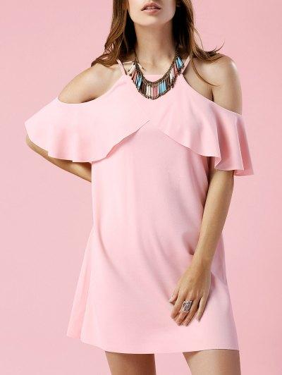 Solid Color Cami Short Sleeve Cold Shoulder Dress - Light Pink
