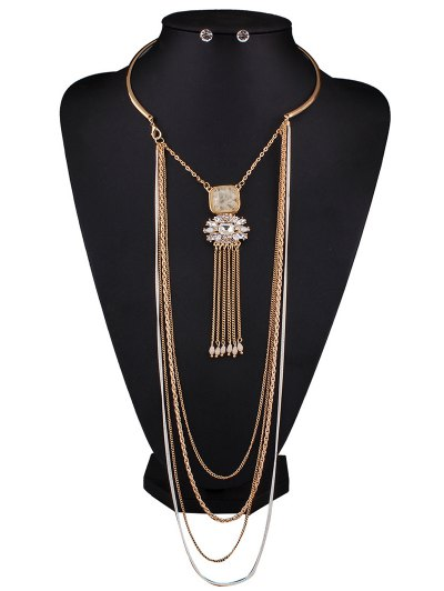 Rhinestone Multilayer Chain Tassel Necklace and Earrings - OFF-WHITE  Mobile