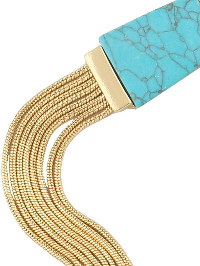 Faux Turquoise Tassel Necklace - BLUE  Mobile