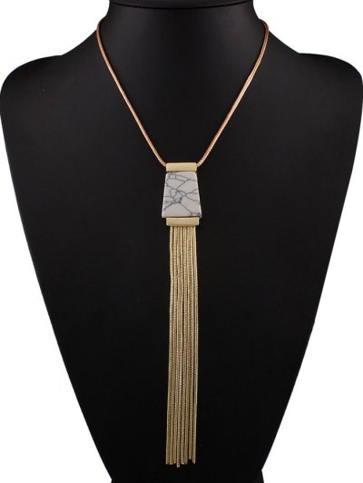 Faux Turquoise Tassel Necklace - WHITE  Mobile