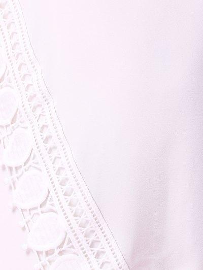 Short Sleeve Lace Trim Dress - WHITE L Mobile