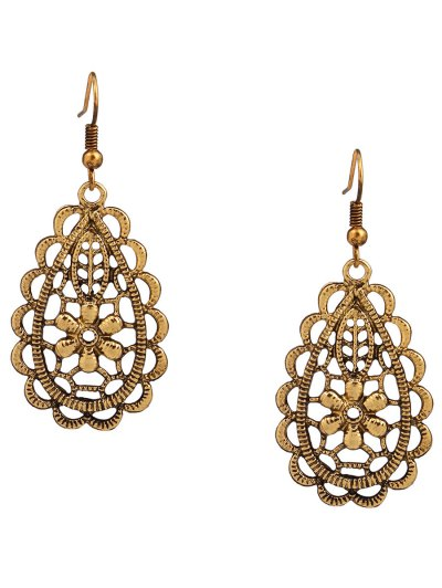 Hollowed Butterfly Flower Necklace and Earrings - GOLDEN  Mobile