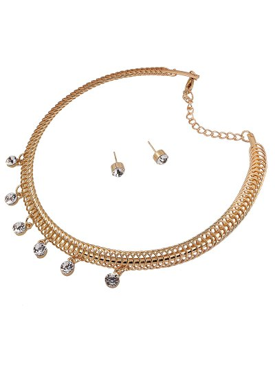 Rhinestone Circle Necklace and Earrings - GOLDEN  Mobile