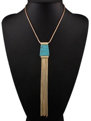 Faux Turquoise Collier Tassel - Bleu